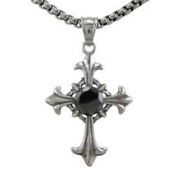 Stainless Steel 38x30mm Black Cubic Zirconia Cross  Necklet 60cm
