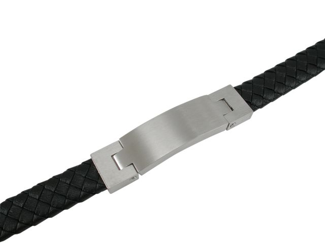 Stainless Steel 14mm Plaited Leather Bracelet (adjustable)