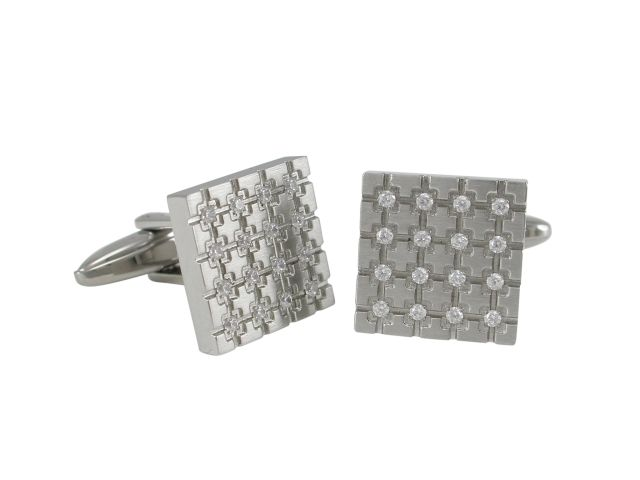 Stainless Steel 15mm White Cubic Zirconia Cuff Links