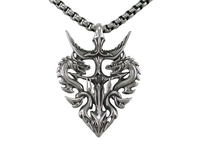 Stainless Steel 42x32mm Black Cubic Zirconia Dagger & Dragons Necklet 60cm
