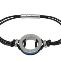 Stainless Steel 20mm Round  *love Forever Amore Per Serpre* 2mm Black Leather Bracelet 19cm