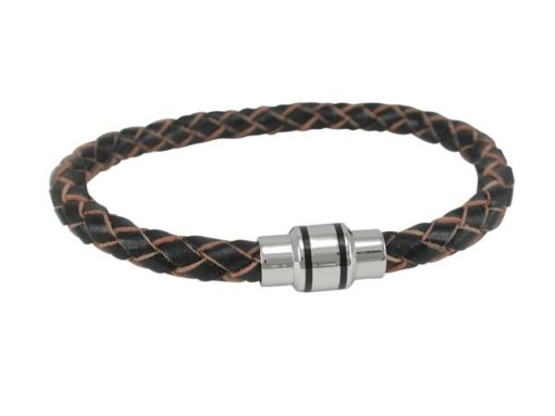 Stainless Steel 6mm Brown & Natural Leather Bracelet