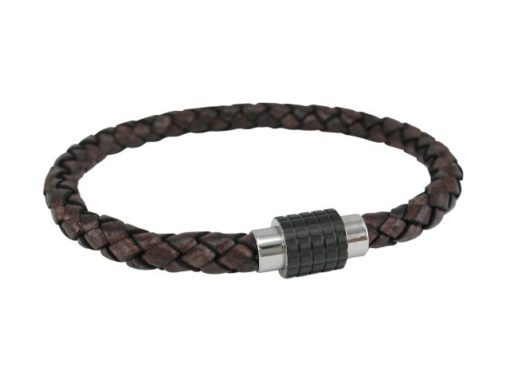 Stainless Steel 10mm Black Magnetic Clasp 6mm Brown Leather Bracelet