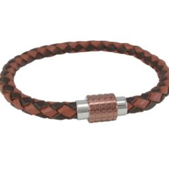 Stainless Steel 10mm Copper Colour Magnetic Clasp 6mm Tan & Dark Brown Leather Bracelet