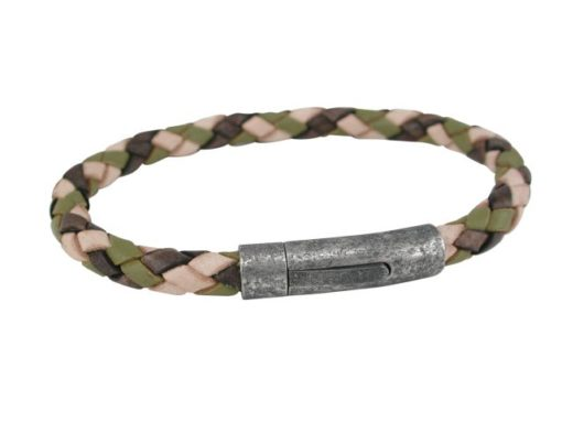 Stainless Steel And 6mm Camourflage Colour Leather Bracelet