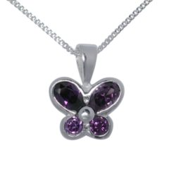 Sterling Silver 13x10mm Purple Cubic Zirconia Butterfly Necklet 40-45cm