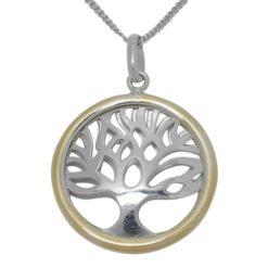 Sterling Silver & Gold Plated Double Sided Tree Of Life Necklet 40-45cm