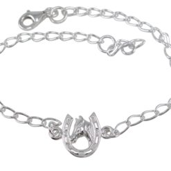 Sterling Silver 11mm Horse Head And Horseshoe Bracelet (suitable For Adding Charms) 17-19cm