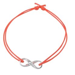 Sterling Silver 6x16mm Infinity Orange Cord Karma Bracelet 14-24cm