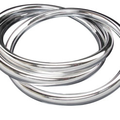 Sterling Silver  6mm Russian Three Band Bangle 68mm