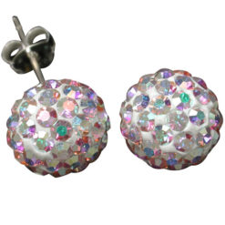 Sterling Silver 10mm Rainbow Crystal Ball Stud Earrings