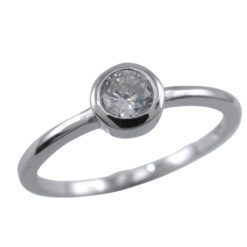 Sterling Silver 5mm Round White Cubic Zirconia Ring