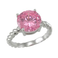 Sterling Silver 9mm Round Pink Cubic Zirconia Ring