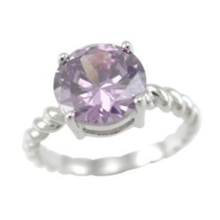 Sterling Silver 9mm Round Purple Cubic Zirconia Ring