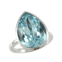 Sterling Silver 15x12mm Aqua Teardrop Swarovski Elements Crystal Ring