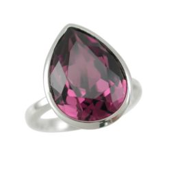 Sterling Silver 15x12mm Purple Teardrop Swarovski Elements Crystal Ring