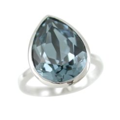Sterling Silver 15x12mm Denim Blue Teardrop Swarovski Elements Crystal Ring