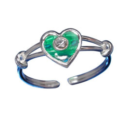 Sterling Silver 7mm White Crystal & Green Heart Toe Ring