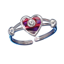 Sterling Silver 7mm White Crystal & Pink Heart Toe Ring
