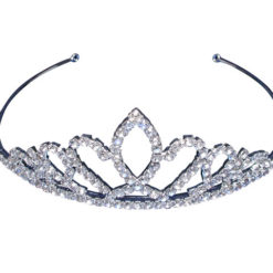 Silver Plated 38x124mm White Crystal Tiara