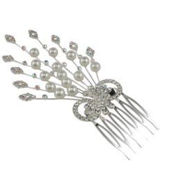 Silver Plated 60x110mm Rainbow Crystal & Pearl Hair Comb