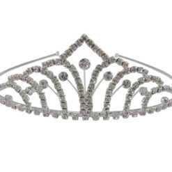 Silver Plated 50x140mm White Crystal Tiara