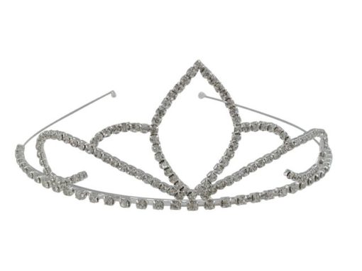 Silver Plated 50x135mm White Crystal Tiara