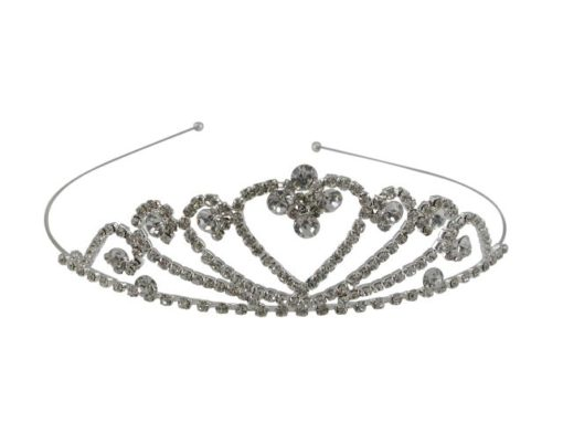 Silver Plated 35x125mm White Crystal Heart Tiara