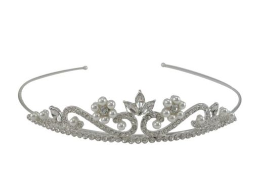 Silver Plated 25x130mm White Crystal & Pearl Tiara
