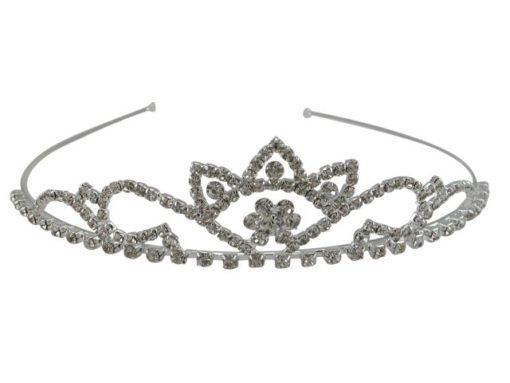 Silver Plated 35x140mm White Crystal Tiara