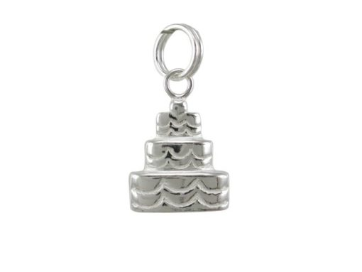 Sterling Silver 12x10mm Wedding Cake Charm With Split Ring