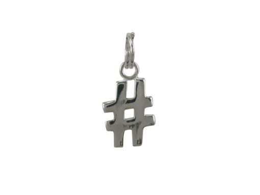 Sterling Silver 11x8mm # Hash Tag Charm With Split Ring
