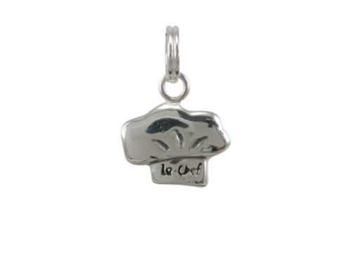 Sterling Silver 12x9mm Le Chef Hat Charm With Split Ring