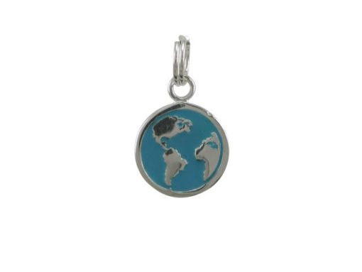 Sterling Silver 12mm Blue Enamel World Traveller Charm With Split Ring