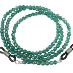 4mm Faceted Dark Green Crystal Eye Glasses Necklet 60cm
