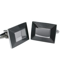 Stainless Steel 20x15mm Black Rectangle Cuff Links