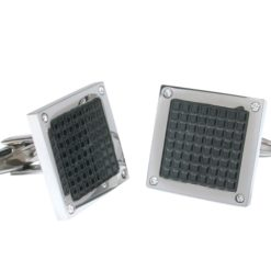 Stainless Steel 18mm Black Square Checkerboard Cuff Links