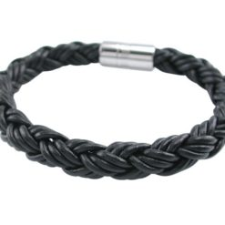 Stainless Steel And 9mm Black Leather Bracelet