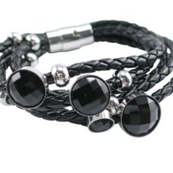 Stainless Steel 25mm Multi Stand Black Leather & Black Crystal Bracelet 19cm