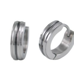 Stainless Steel 4mm Black Line Huggie Earrings
