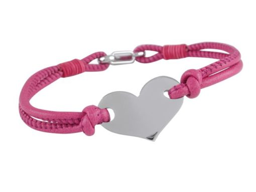Stainless Steel 25x16mm Heart On Pink Leather Bracelet 19cm