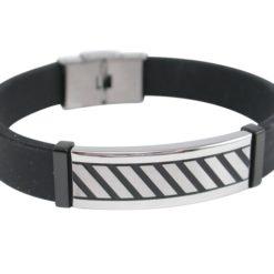 Stainless Steel 13mm Black Ip Patterned Id With Black Silicon Strap Bracelet (adjustable) 21cm