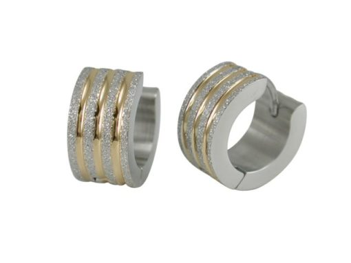 Stainless Steel 13x6mm Gold Ipg Spripe Frosted Huggie Earrings