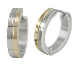 Stainless Steel 20x4mm Two Tone Gold Ipg Huggie Earrings