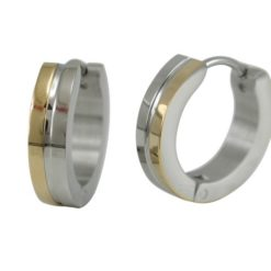 Stainless Steel 16x4mm Two Tone Gold Ipg Huggie Earrings