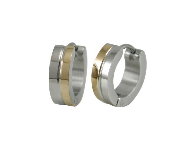 Stainless Steel 13x4mm Two Tone Gold Ipg Huggie Earrings