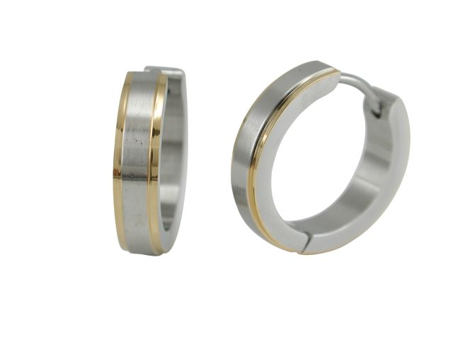 Stainless Steel 18x4mm Brushed Two Tone Gold Ipg Edge Huggie Earrings