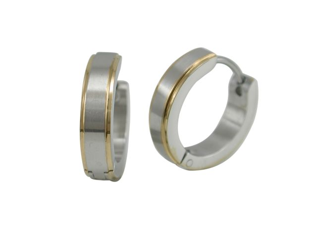 Stainless Steel 16x4mm Brushed Two Tone Gold Ipg Edge Huggie Earrings