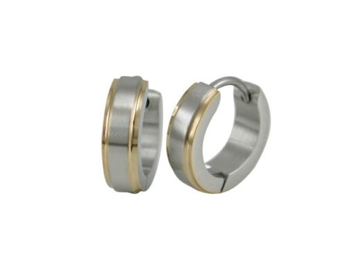 Stainless Steel 13x4mm Brushed Two Tone Gold Ipg Edge Huggie Earrings
