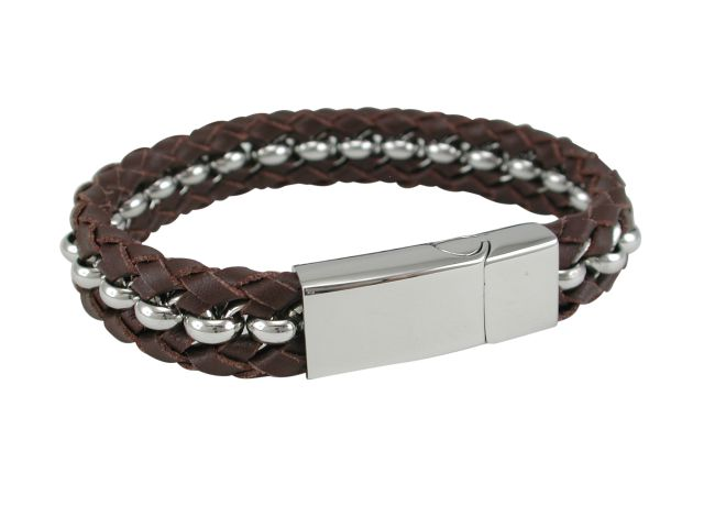 Stainless Steel 12mm Brown Plaited Leather & Steel Link Bracelet